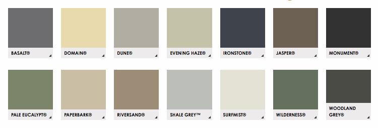 colorbond-fence-colours - RCG